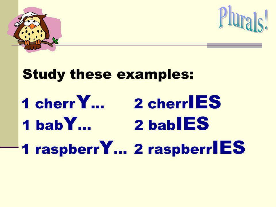 Plurals! Study these examples: 1 cherr Y… 2 cherrIES 1 babY… 2 babIES 1 raspberrY... 2 raspberrIES