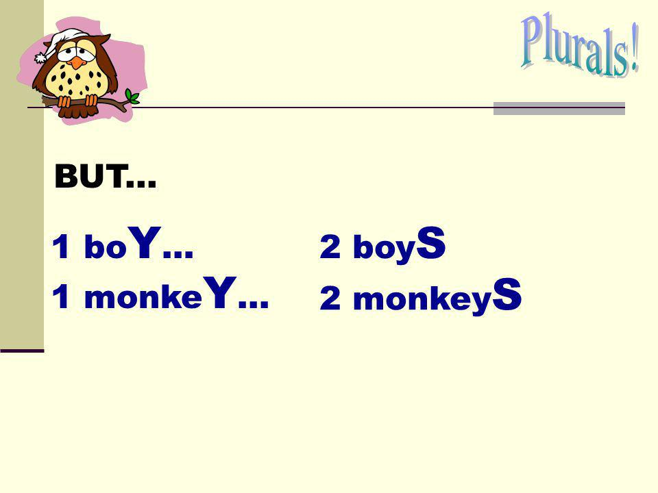 Plurals! BUT... 1 boY… 2 boyS 1 monkeY... 2 monkeyS