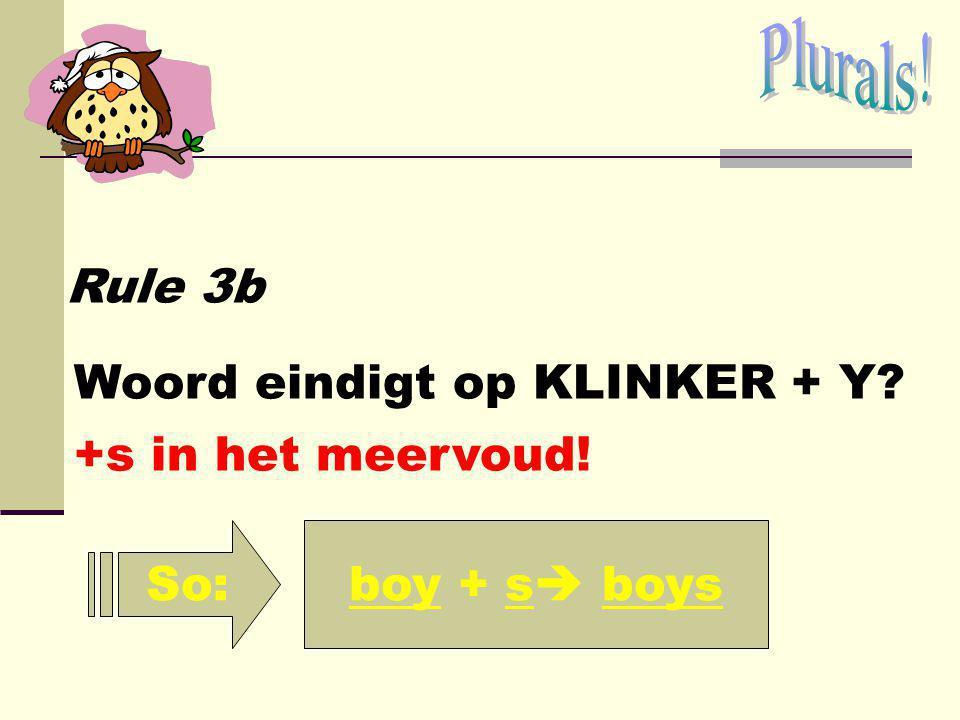 Plurals! Rule 3b Woord eindigt op KLINKER + Y +s in het meervoud! So: boy + s boys
