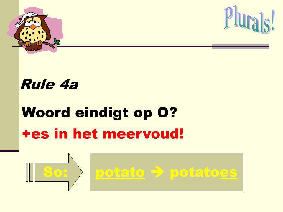 Plurals! Rule 4a Woord eindigt op O +es in het meervoud! So: potato  potatoes