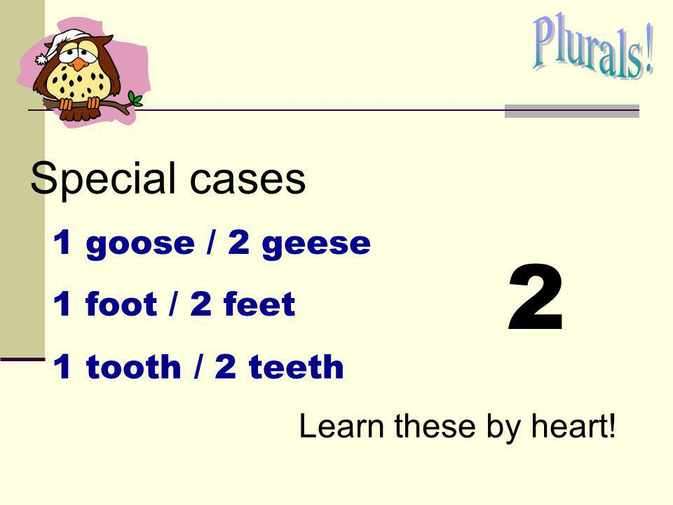 2 Special cases Plurals! 1 goose / 2 geese 1 foot / 2 feet