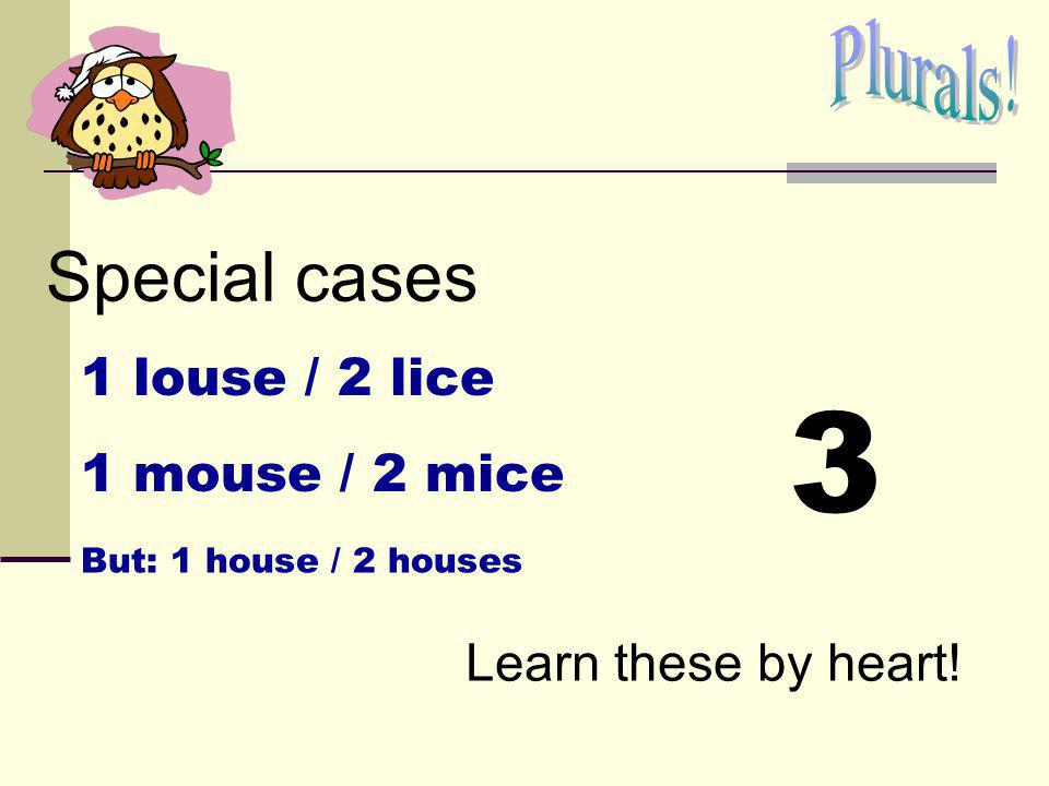 3 Special cases Plurals! 1 louse / 2 lice 1 mouse / 2 mice