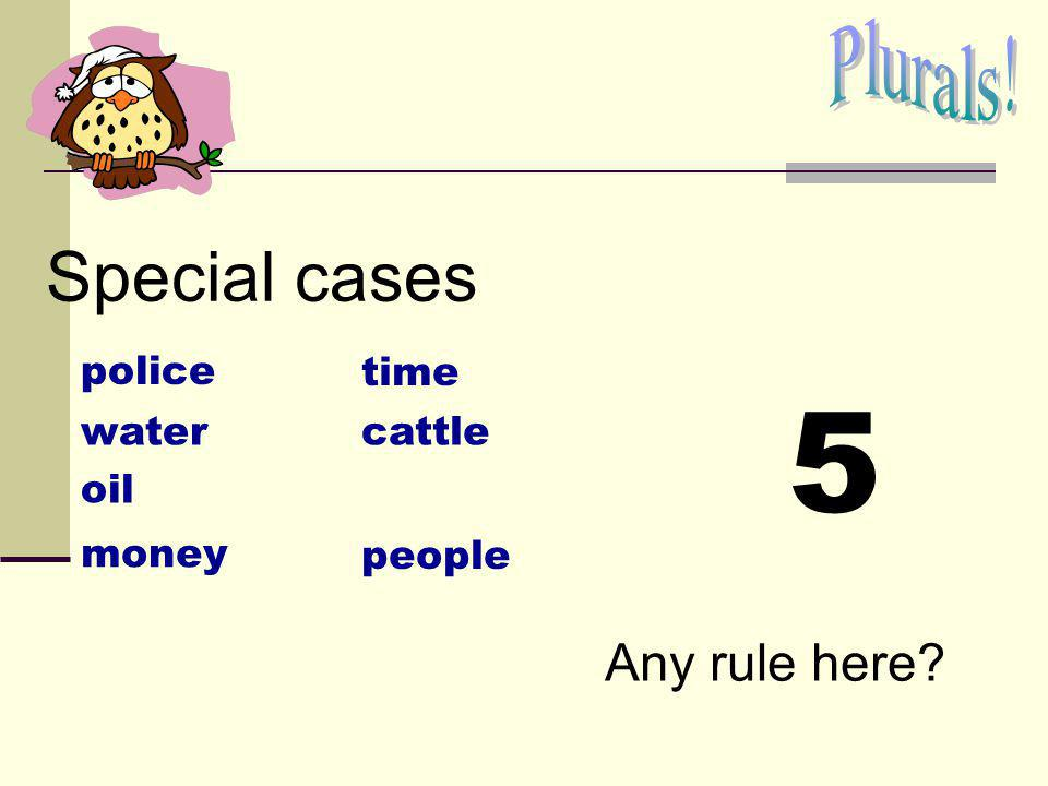 5 Special cases Plurals! Any rule here police time water cattle oil