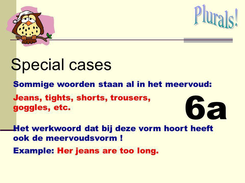 6a Special cases Plurals! Sommige woorden staan al in het meervoud: