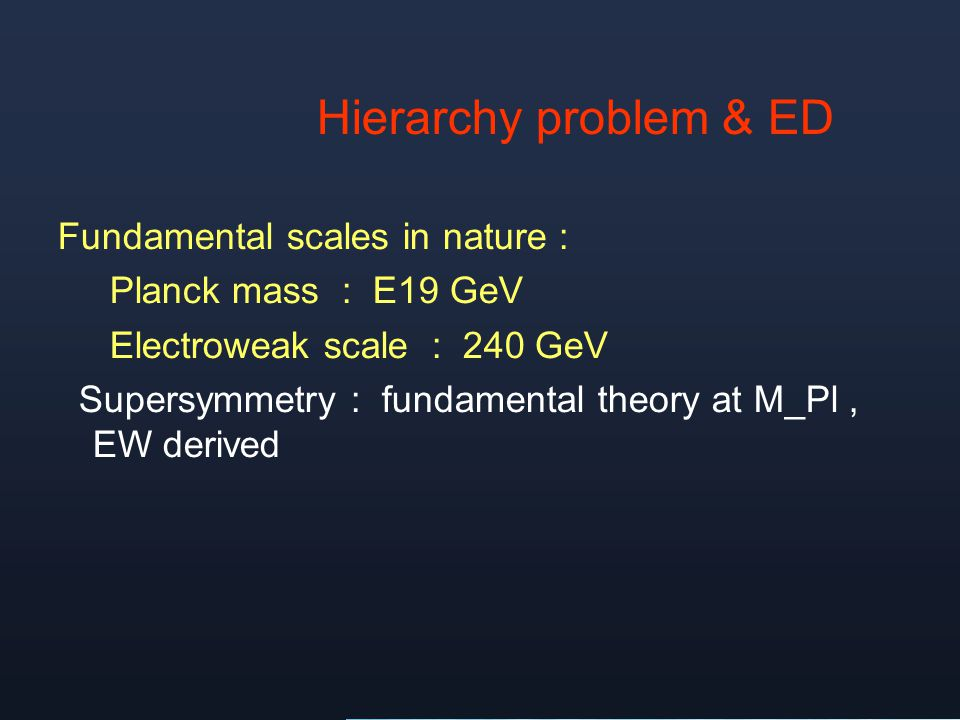 Hierarchy problem & ED Fundamental scales in nature :