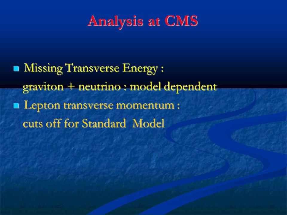 Analysis at CMS Missing Transverse Energy :