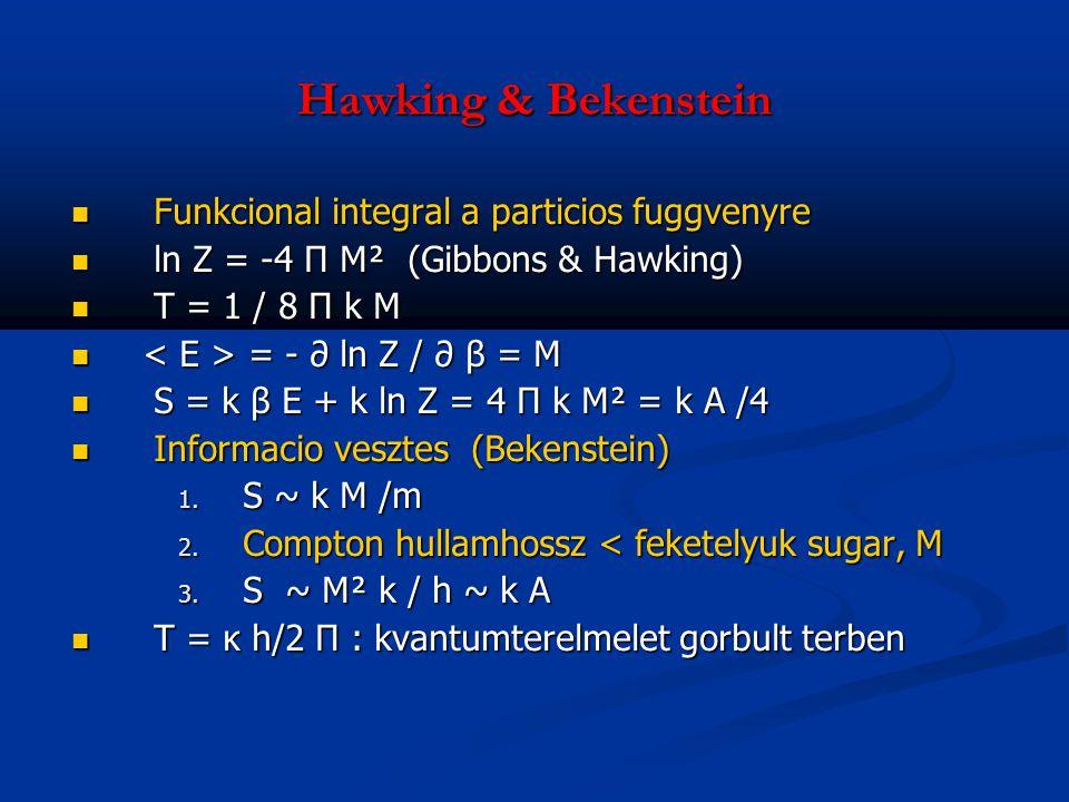 Hawking & Bekenstein Funkcional integral a particios fuggvenyre