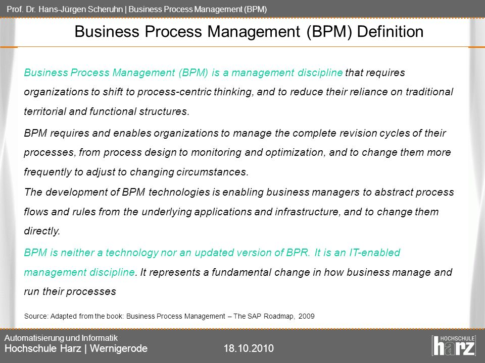 Business Process Management (BPM) Definition