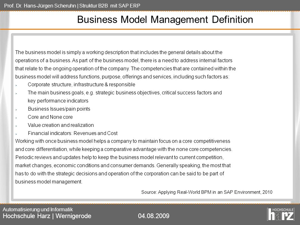 Business Model Management Definition