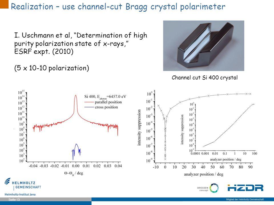 Realization – use channel-cut Bragg crystal polarimeter