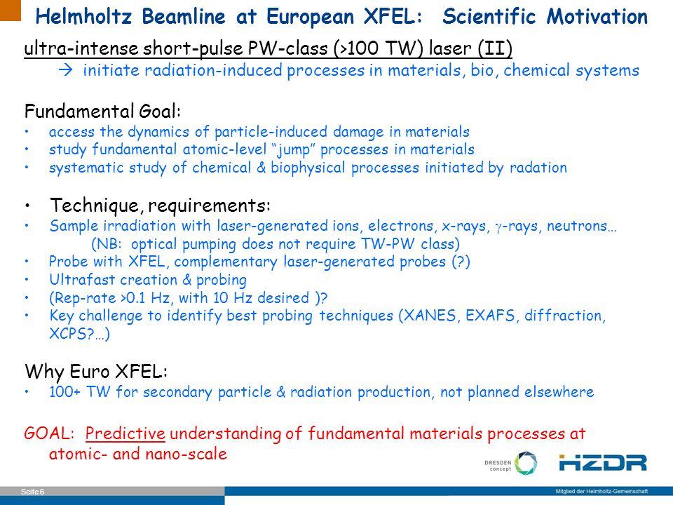 Helmholtz Beamline at European XFEL: Scientific Motivation