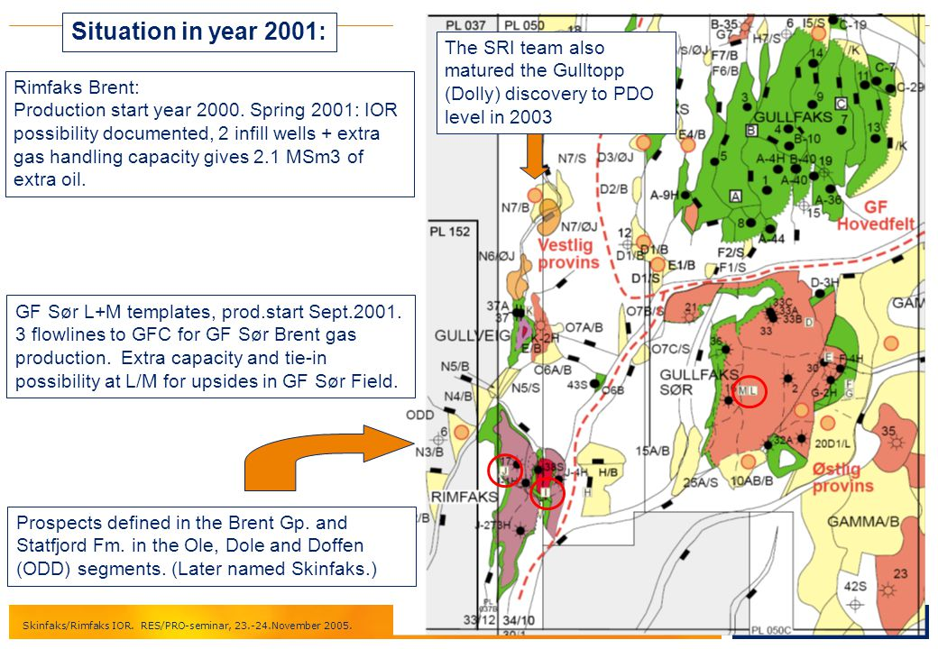 Situation in year 2001: The SRI team also matured the Gulltopp (Dolly) discovery to PDO level in