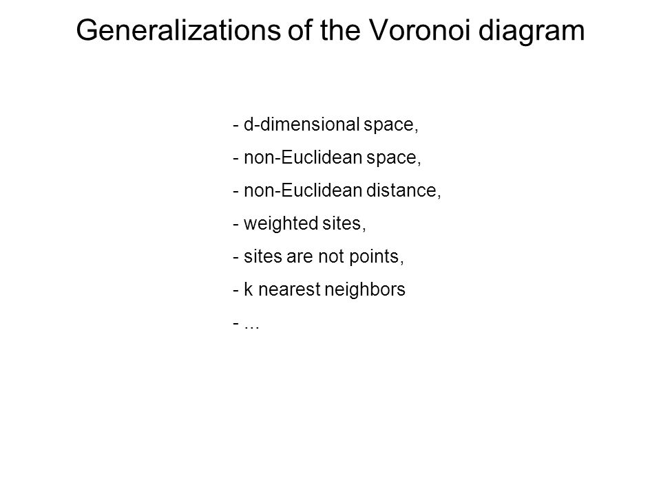 Generalizations of the Voronoi diagram