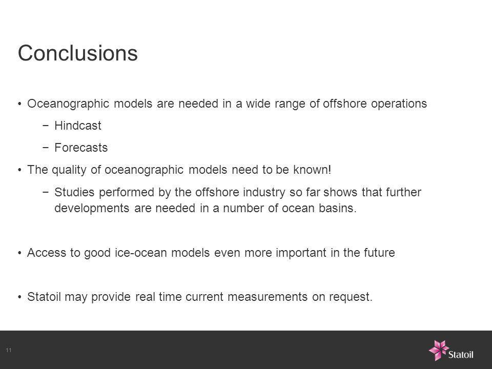 Conclusions Oceanographic models are needed in a wide range of offshore operations. Hindcast. Forecasts.