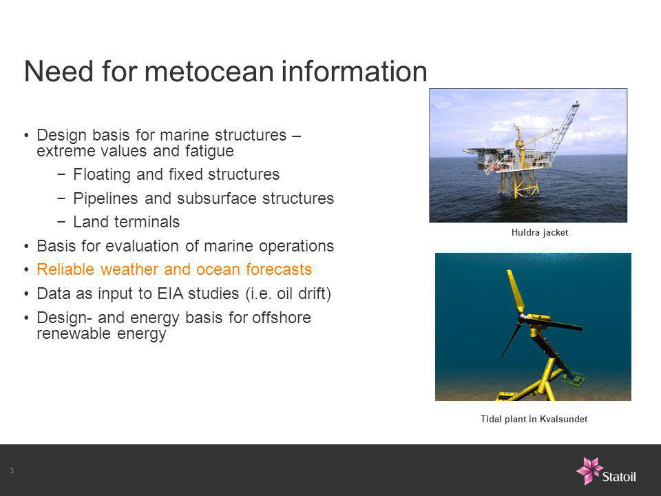 Need for metocean information