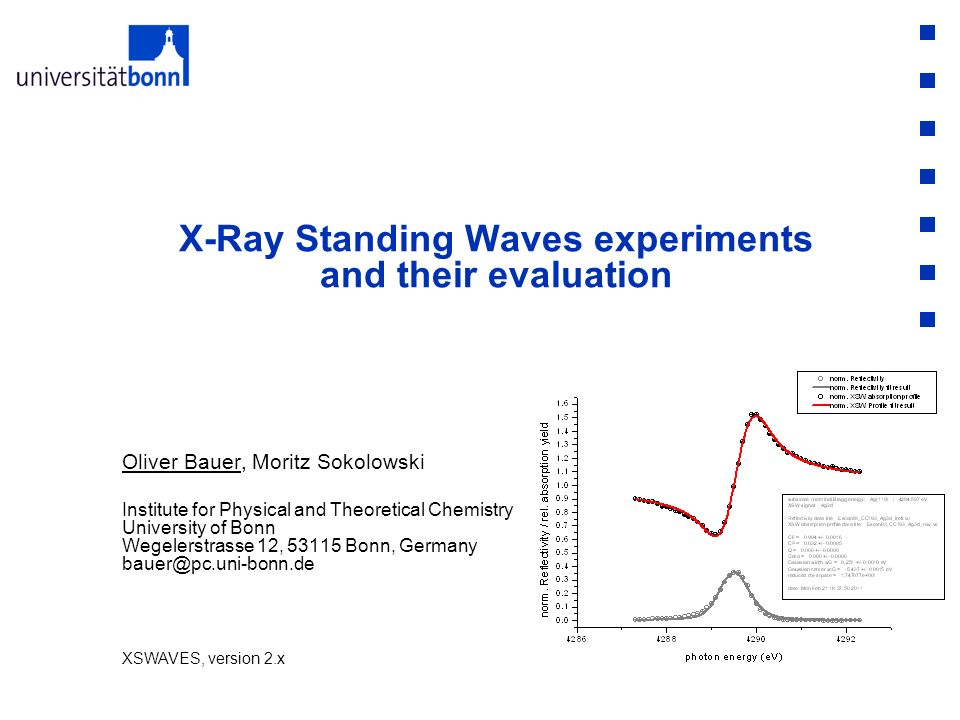 X-Ray Standing Waves experiments and their evaluation