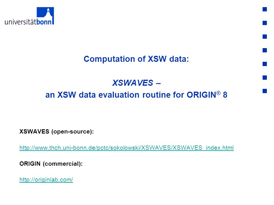 Computation of XSW data: XSWAVES – an XSW data evaluation routine for ORIGIN® 8