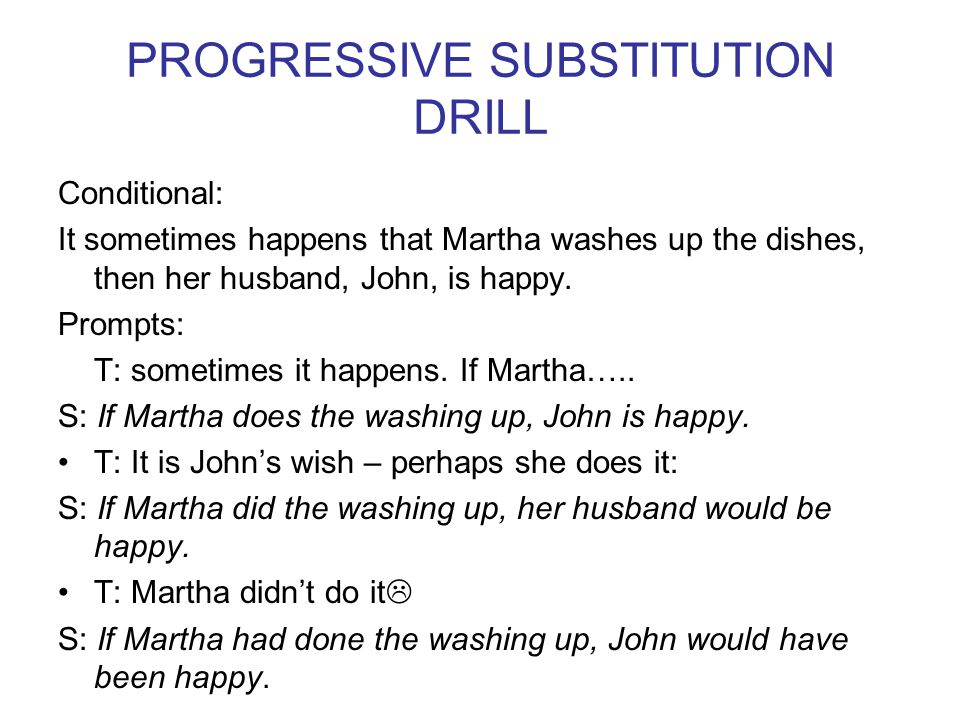 PROGRESSIVE SUBSTITUTION DRILL