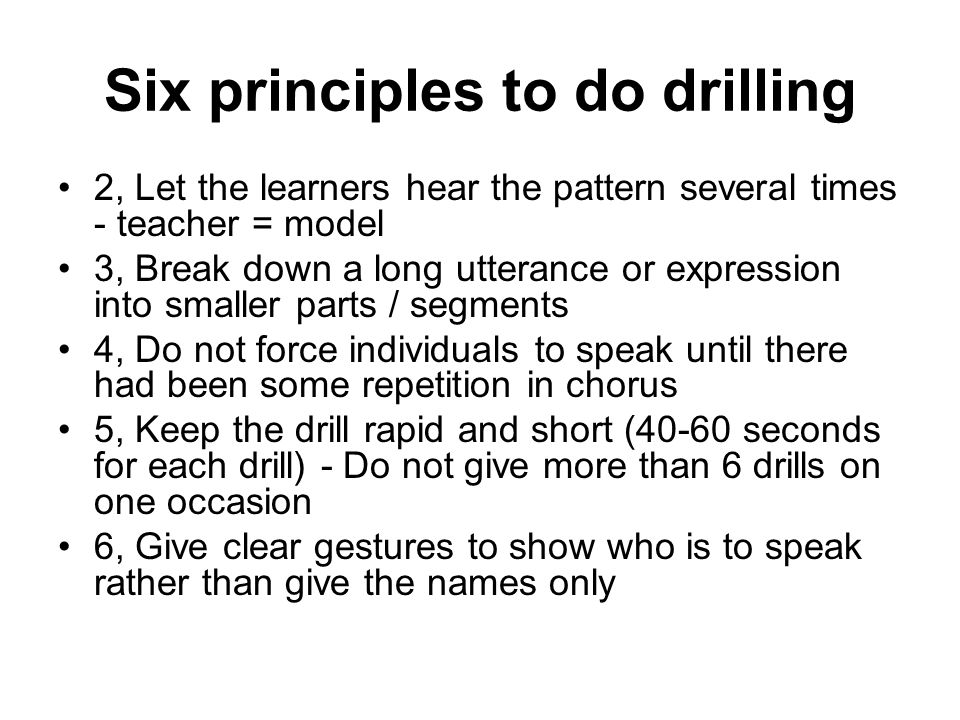 Six principles to do drilling