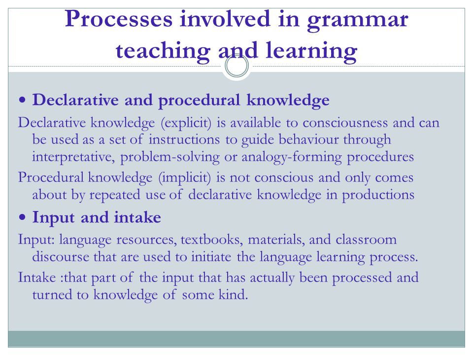 Processes involved in grammar teaching and learning