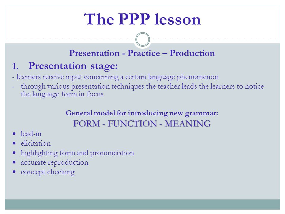 The PPP lesson Presentation stage: