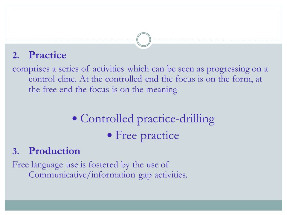 Controlled practice-drilling