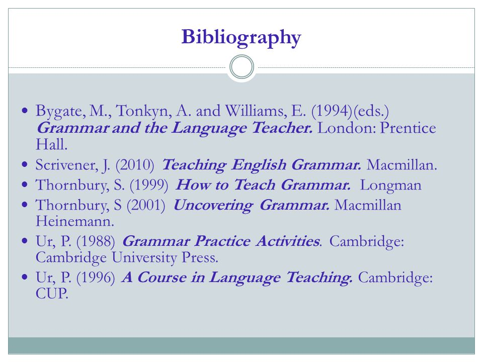 Bibliography Bygate, M., Tonkyn, A. and Williams, E. (1994)(eds.) Grammar and the Language Teacher. London: Prentice Hall.