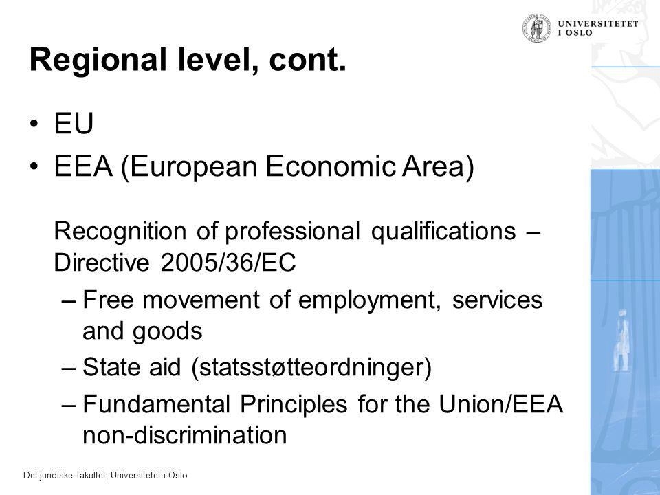 Regional level, cont. EU EEA (European Economic Area)