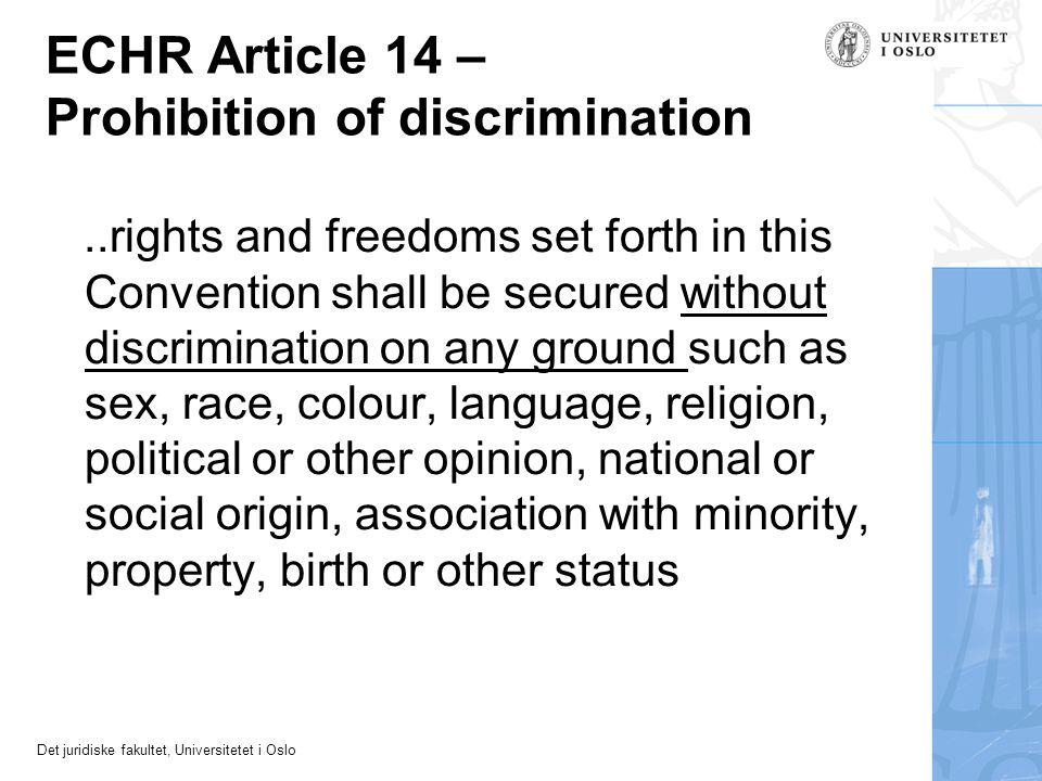 ECHR Article 14 – Prohibition of discrimination
