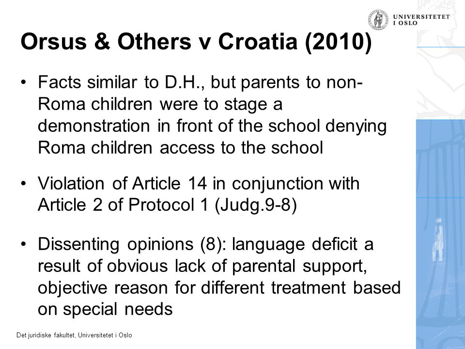 Orsus & Others v Croatia (2010)