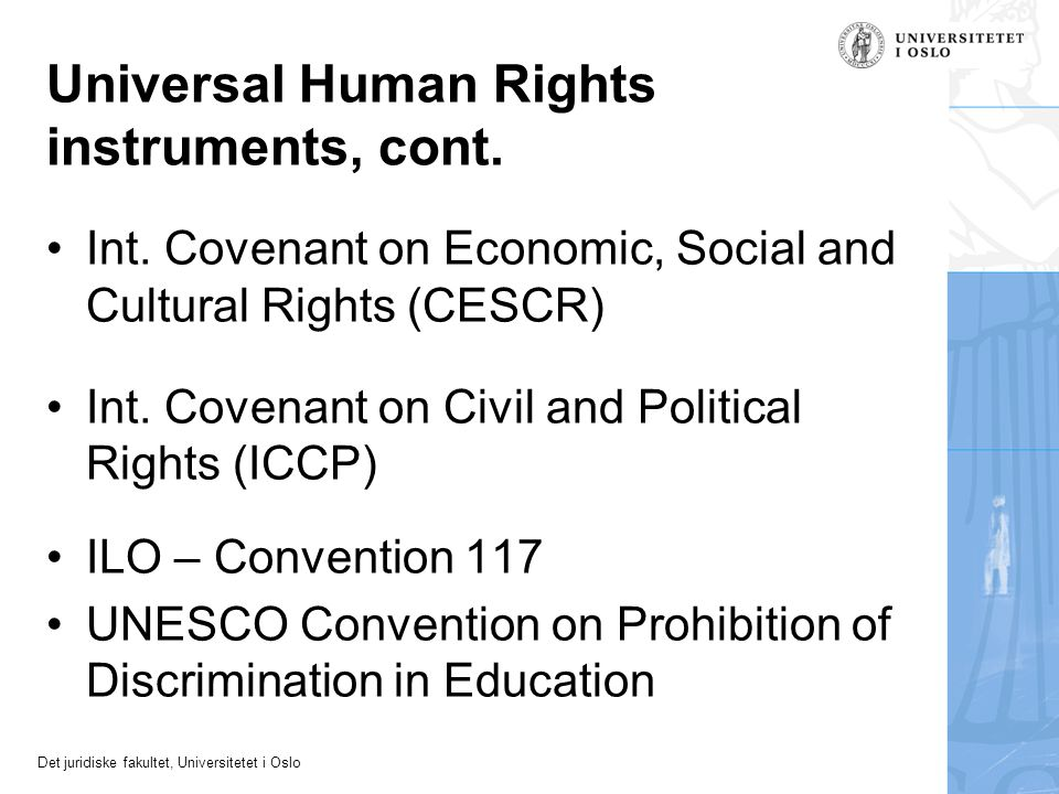 Universal Human Rights instruments, cont.