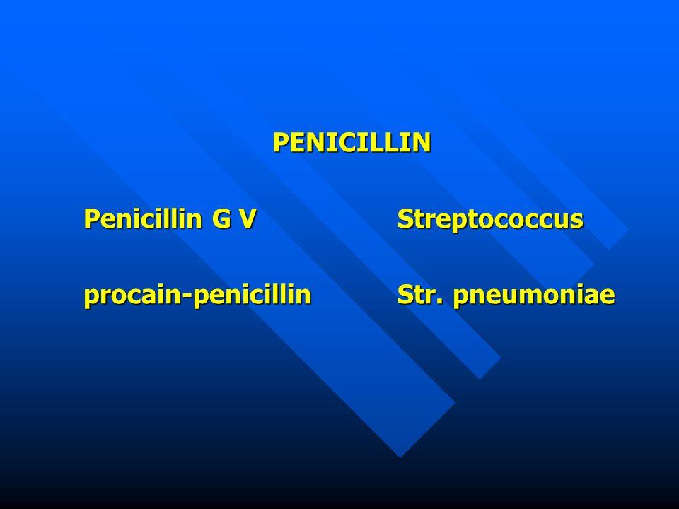 PENICILLIN Penicillin G V Streptococcus procain-penicillin Str. pneumoniae