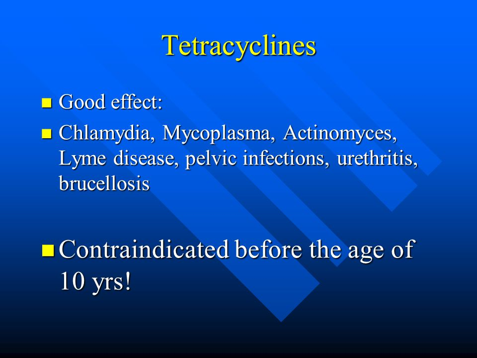 Tetracyclines Contraindicated before the age of 10 yrs! Good effect: