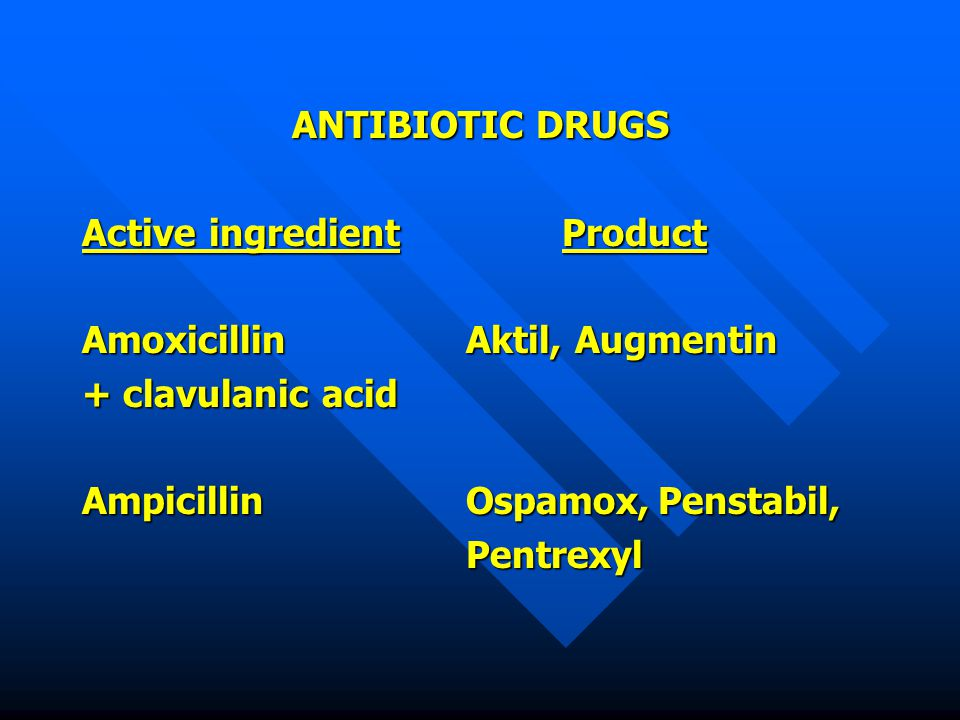 ANTIBIOTIC DRUGS Active ingredient Product. Amoxicillin Aktil, Augmentin. + clavulanic acid. Ampicillin Ospamox, Penstabil,