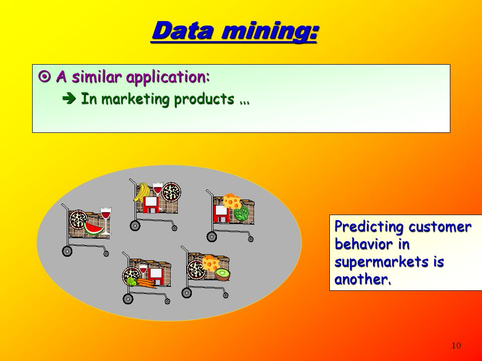 Data mining: A similar application: In marketing products ...