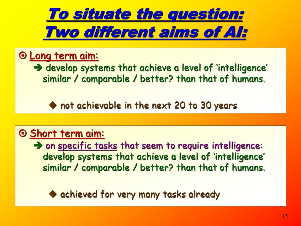 To situate the question: Two different aims of AI: