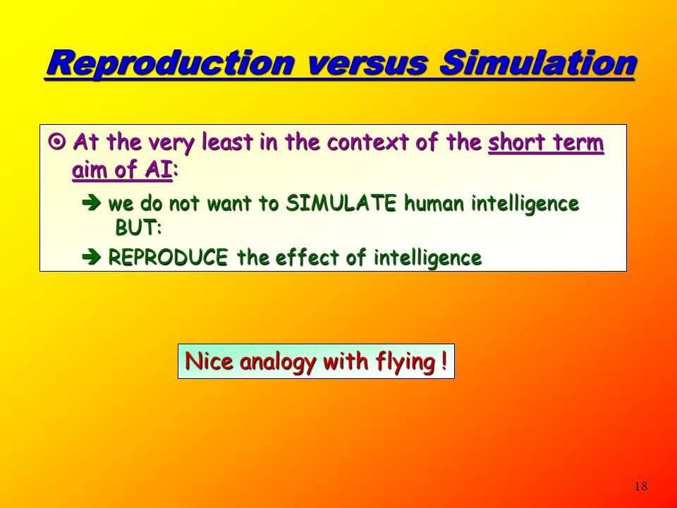Reproduction versus Simulation
