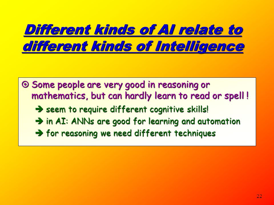 Different kinds of AI relate to different kinds of Intelligence