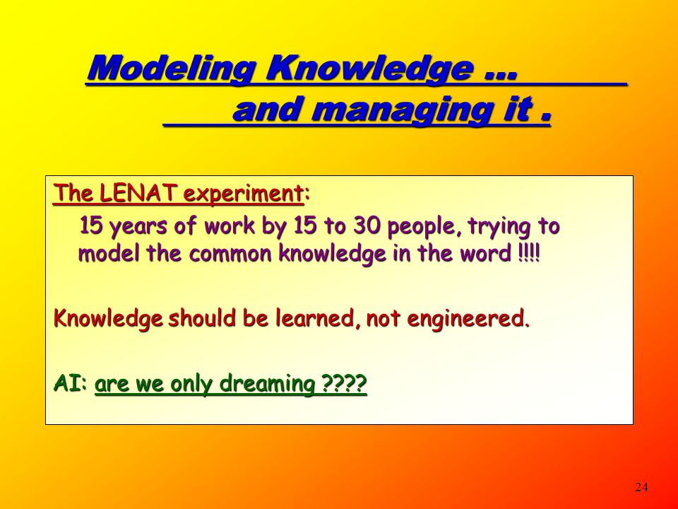 Modeling Knowledge … and managing it .