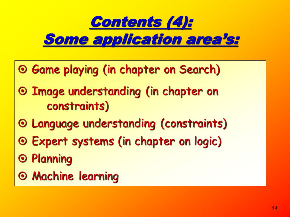 Contents (4): Some application area's:
