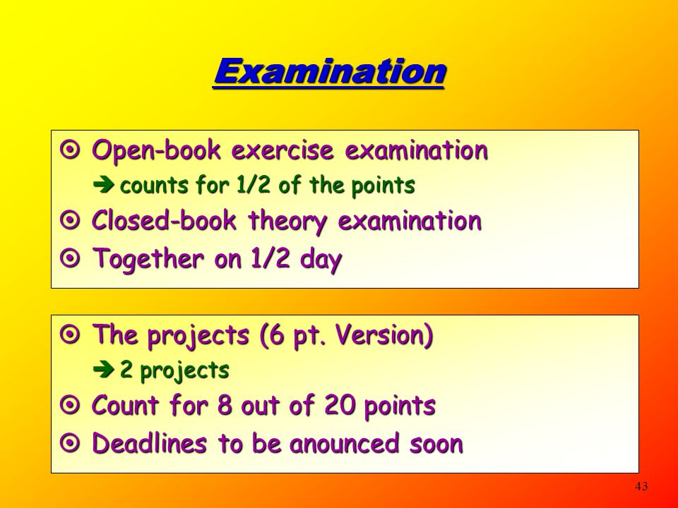 Examination Open-book exercise examination
