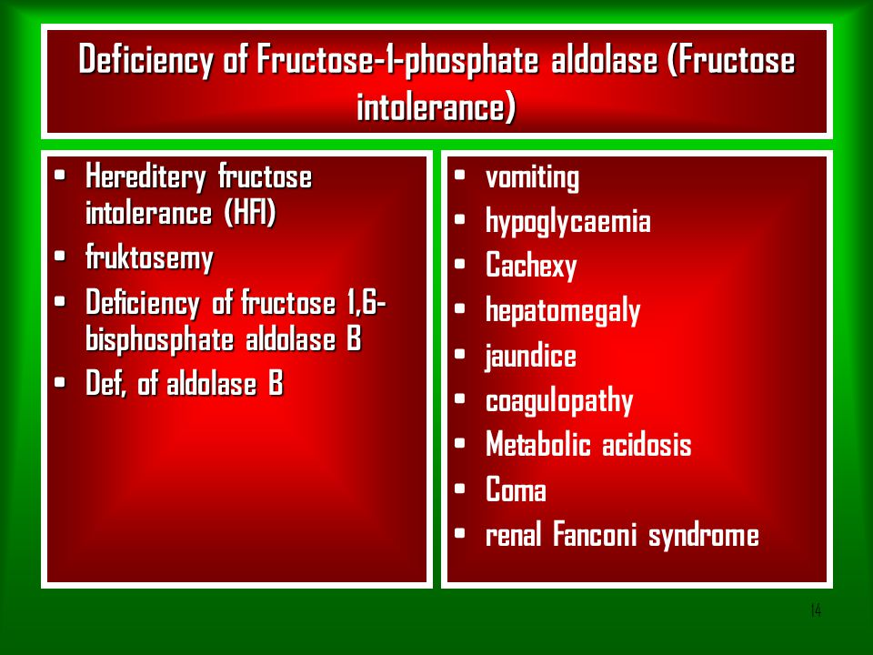 Deficiency of Fructose-1-phosphate aldolase (Fructose intolerance)