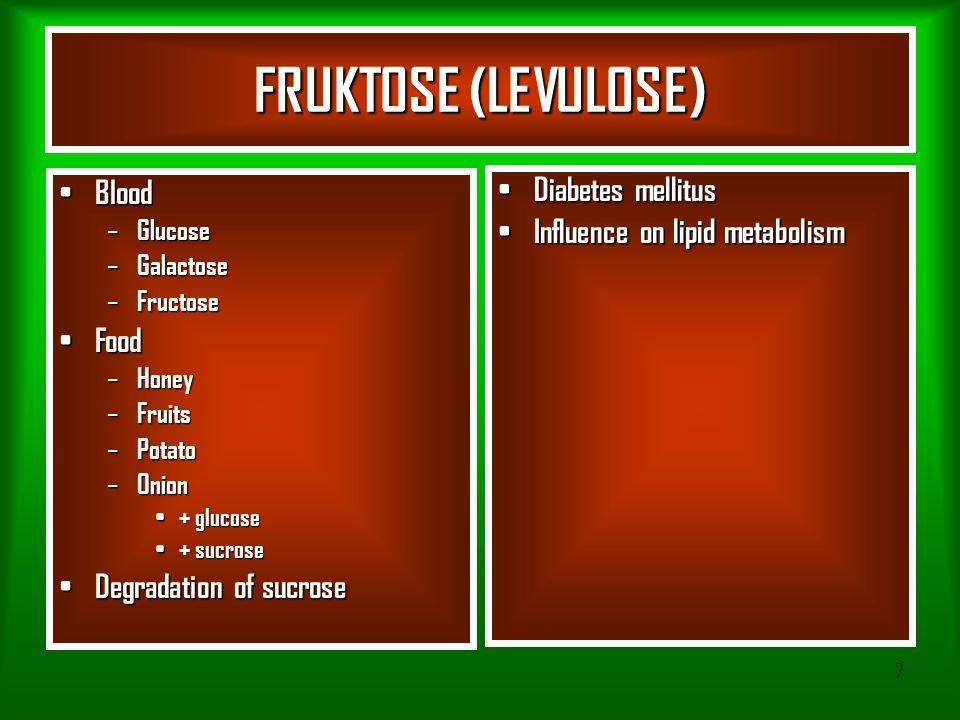 FRUKTOSE (LEVULOSE) Blood Diabetes mellitus