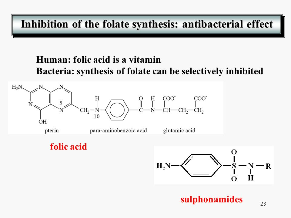 Inhibition of the folate synthesis: antibacterial effect