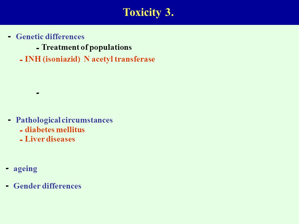 Toxicity 3. Genetic differences Treatment of populations