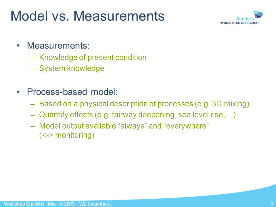 Model vs. Measurements Measurements: Process-based model: