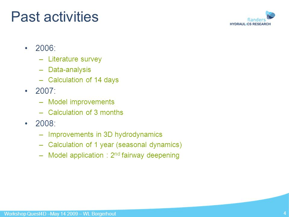 Past activities 2006: 2007: 2008: Literature survey Data-analysis