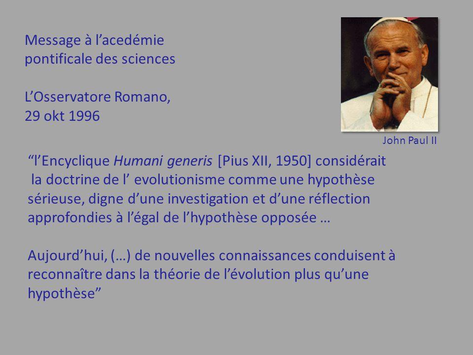 pontificale des sciences L'Osservatore Romano, 29 okt 1996