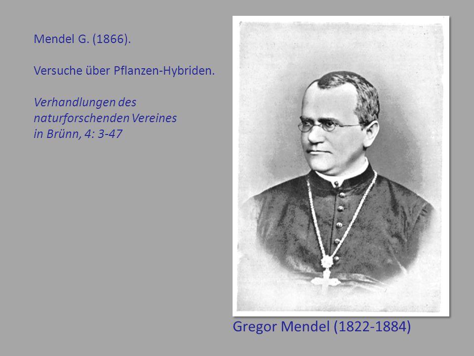 Gregor Mendel (1822-1884) Mendel G. (1866).
