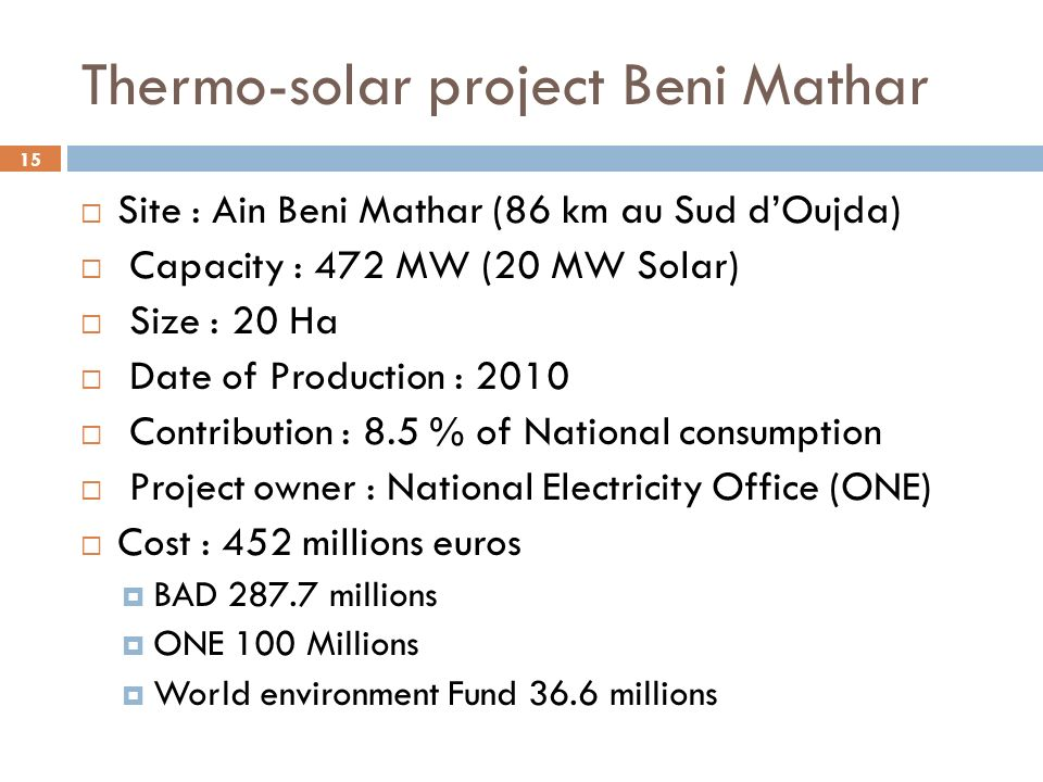 Thermo-solar project Beni Mathar